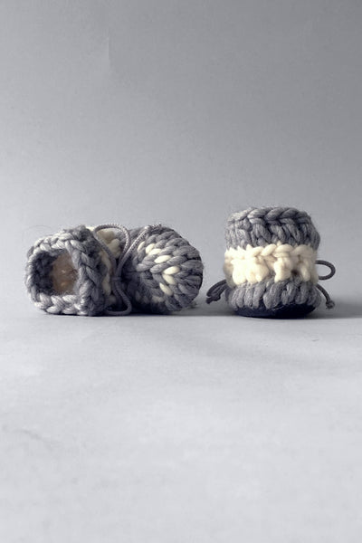 kids woolen booties grey handmade upcycled