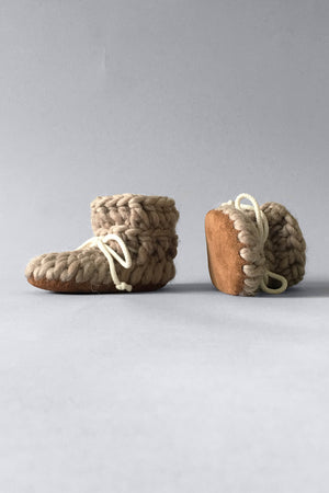 Made in Canada baby slippers, Merino wool with leather soles padraigs crib shoes