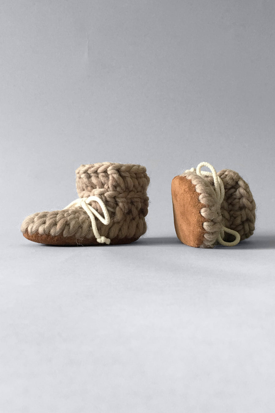 Crochet beige wool baby shoes with leather soles, handmade in Canada