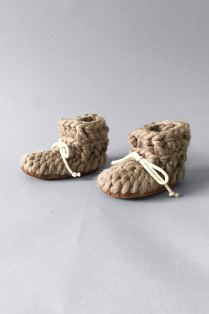 light brown wool eco friendly slippers for baby and children, handmade in Ontario, Canada. Soft non itch wool baby booties