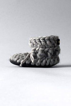 Gray Merino wool baby slippers handmade in Canada
