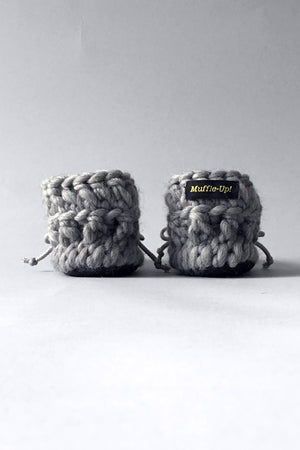 Gray Merino wool slippers for children, crocheted by hand in Canada