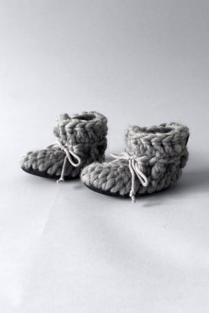 knitted kids boots solid grey handmade recycled