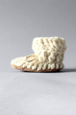 knitted kids slippers ivory handmade recycled