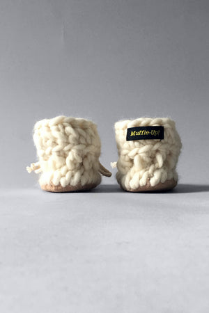woolen kids booties ivory handmade upcycled
