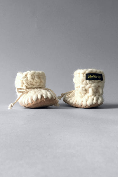 knitted kids slippers ivory handmade upcycled