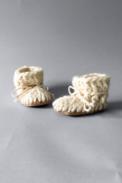 knitted kids boot ivory handmade recycled