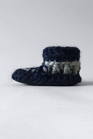 knitted kids slippers nautical blue handmade upcycled