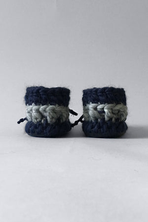woolen kids boots nautical blue handmade recycled