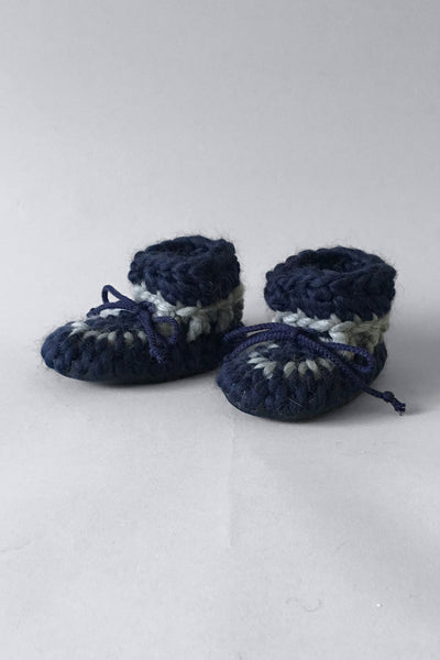 knitted kids booties nautical blue handmade upcycled