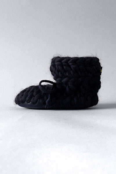 knitted kids slippers black handmade upcycled