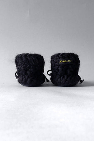 woolen kids boots black handmade upcycled