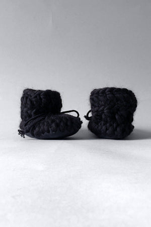 woolen kids booties black handmade recycled
