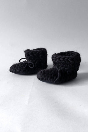 knitted kids booties black handmade upcycled