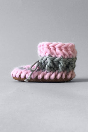 knitted kids slippers pink handmade upcycled