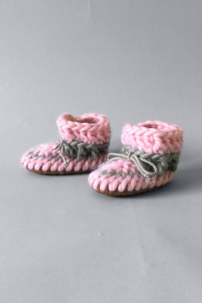 woolen kids boots pink handmade upcycled