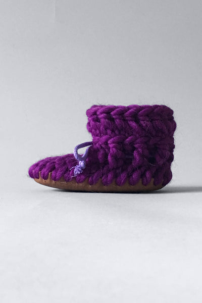 knitted kids slippers purple handmade upcycled
