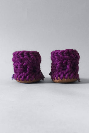 knitted kids slippers purple handmade recycled