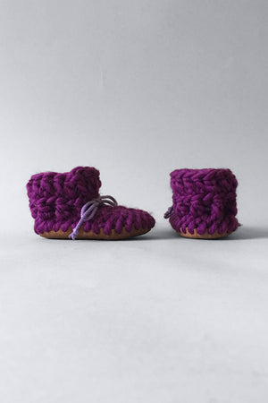 woolen kids booties purple handmade recycled