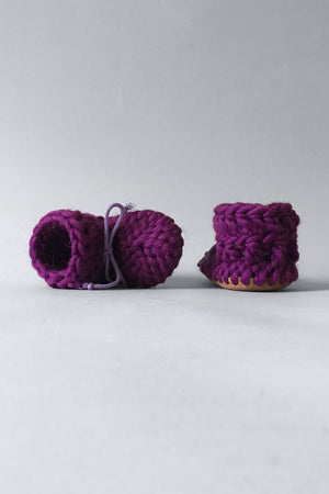 woolen kids slippers purple handmade upcycled