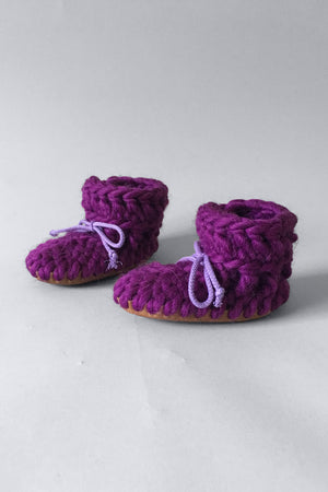 knitted kids booties purple handmade recycled