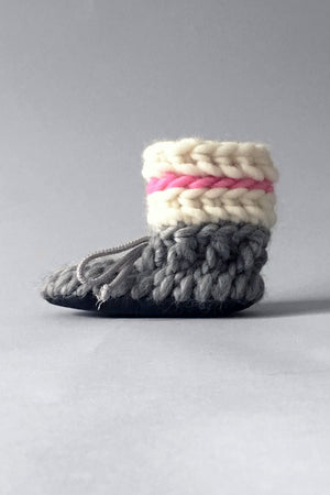 knitted kids slippers pink and grey handmade upcycled