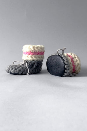 woolen kids slippers pink and grey handmade upcycled