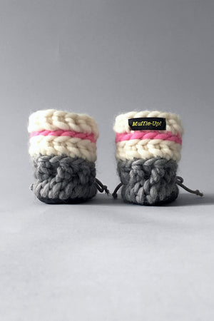 knitted kids booties pink and grey handmade recycled