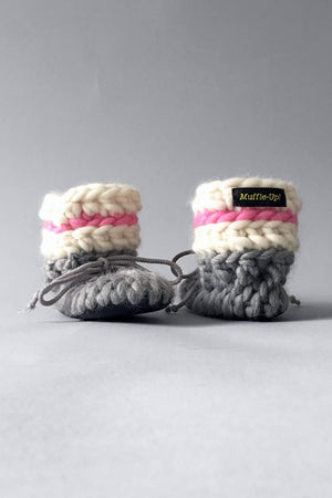 woolen kids booties pink and grey handmade recycled