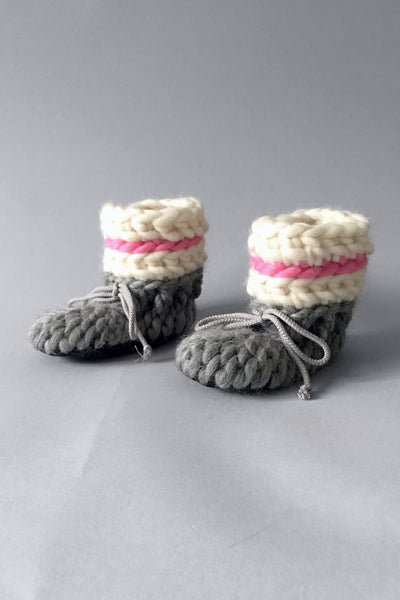 knitted kids booties pink and grey handmade upcycled