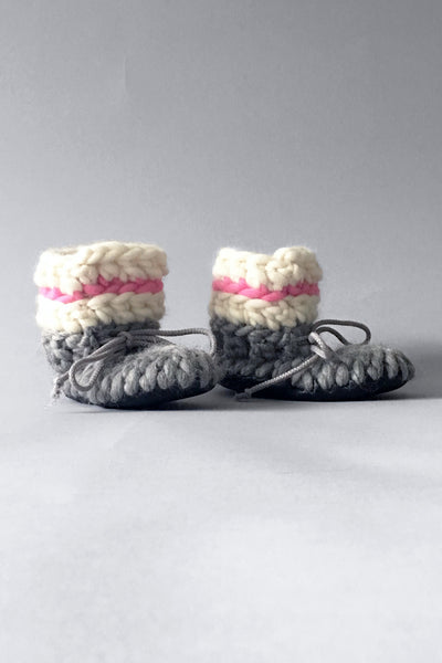 woolen kids slippers pink and grey handmade recycled