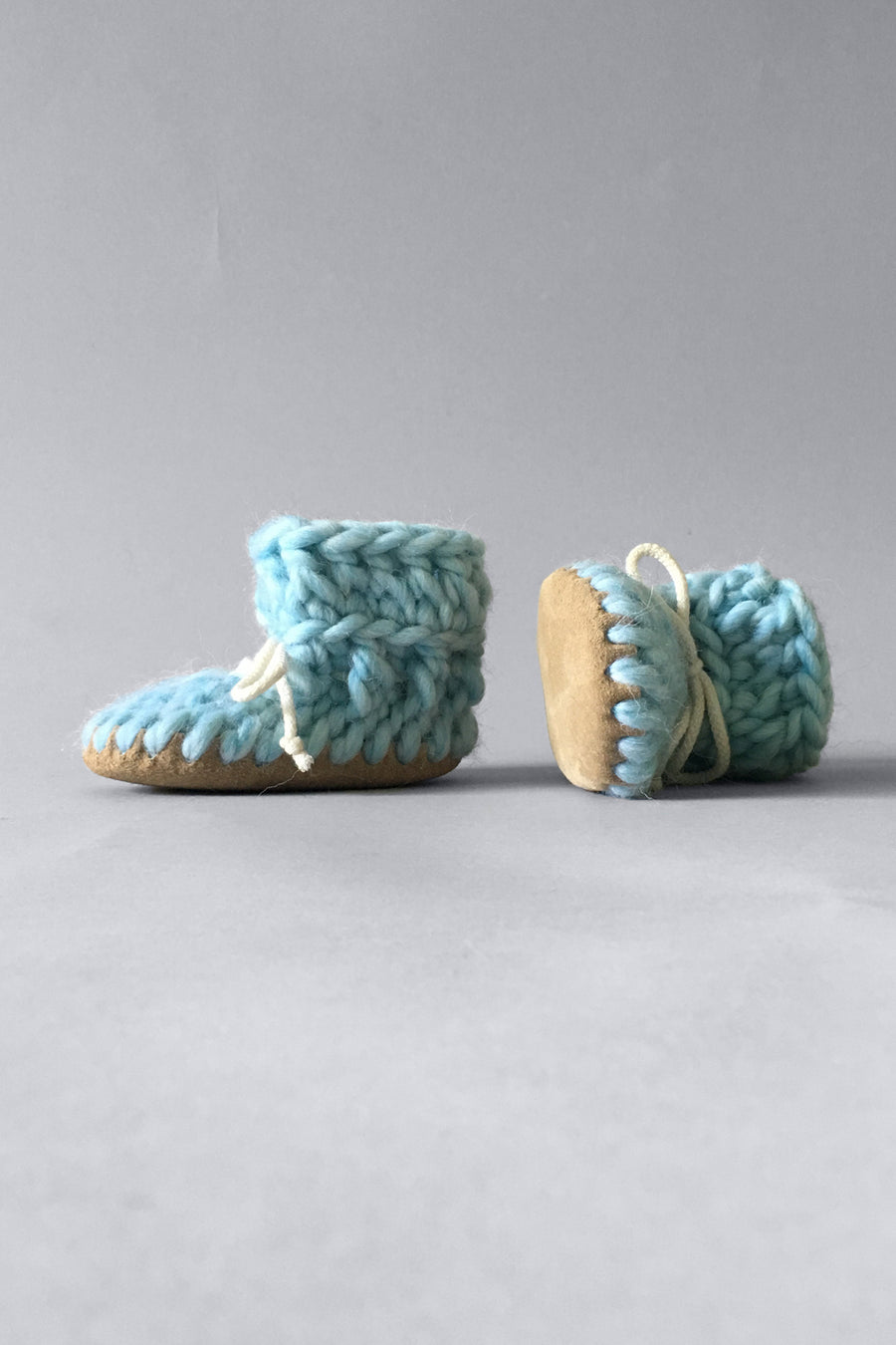 knitted kids slippers sky blue handmade upcycled