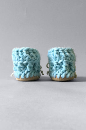 woolen kids booties sky blue handmade upcycled
