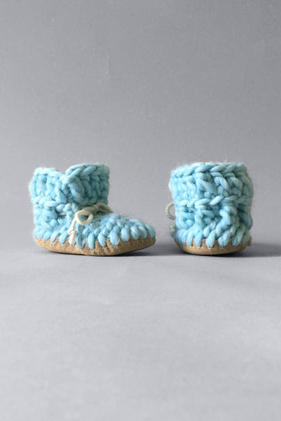 woolen kids slippers sky blue handmade recycled