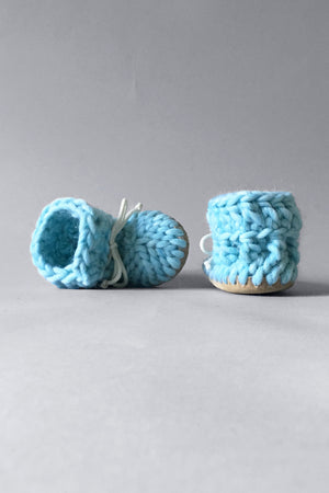 knitted kids booties sky blue handmade upcycled