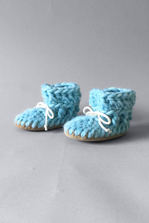 knitted kids booties sky blue handmade recycled