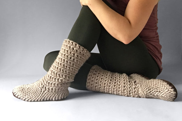 knitted woolen boots fawn beige handmade upcycled