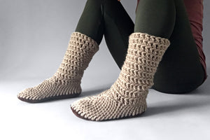 knitted slipper boots fawn beige handmade recycled
