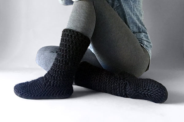 wool slipper boots black handmade upcycled