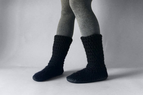 knitted woolen boots black handmade recycled