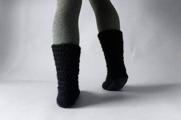 wool slipper boots black handmade recycled
