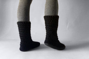 knitted slipper boots black handmade recycled