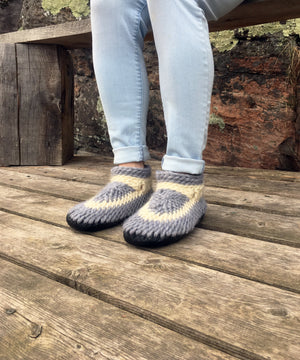 Gray and White Merino Wool Slippers, Made in Canada