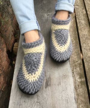 Knitted Slippers with Leather Soles in a Soft Gray and White