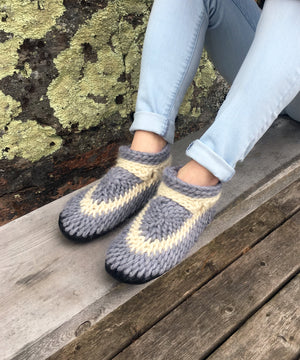 Gray Merino Wool Crocheted Slippers with Leather Soles