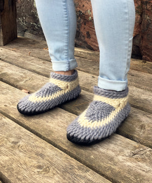 Gray Crochet House Shoes, Handmade in Canada