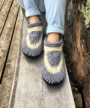 Gray Crochet Slippers for Men or Women, Handmade in Canada