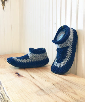 Crochet  Navy Blue Merino Wool Slippers with Leather Sole and Shearling Lining, Eco Friendly and Handmade  in Canada