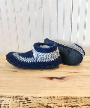 Cozy Slippers with Leather Soles, Handmade in Canada with  Blue Merino Wool, Eco Friendly Slippers