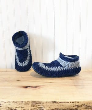 Blue Merino Wool Slippers with Leather Soles and Shearling Lining, Eco Friendly Slippers made in Canada